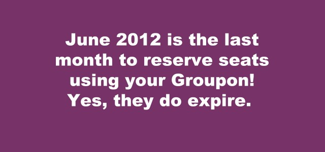 All customers must call 256.654.2489 to reserve seating for June 2010 shows.